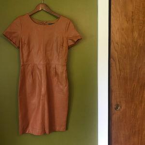 Anthropolgie Faux Leather Short Sleeve Dress